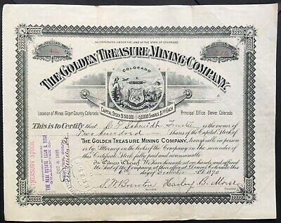 GOLDEN TREASURE MINING COMPANY Stock 1890. Central City, Gilpin County, Colorado