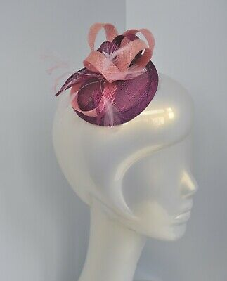 Pink and purple sinamay small mini disc fascinator/hair clip. Loops/feathers. UK