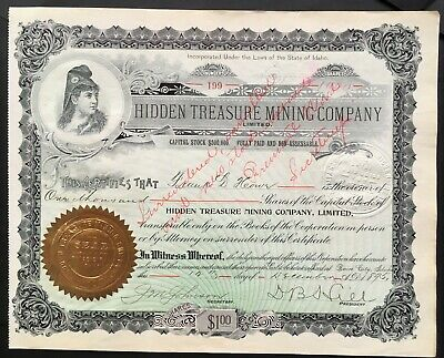 HIDDEN TREASURE MINING COMPANY LIMITED Stock 1895. Boise City, Idaho. VF+