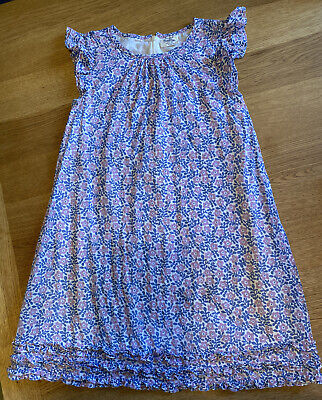Stunning Girls Mini Boden Dress. Blue With Lilac Flowers. Age 9-10 Years, cotton