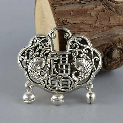 Collect China Old Miao Silver Hand-Carved Double Fish Moral Bring Luck Pendant