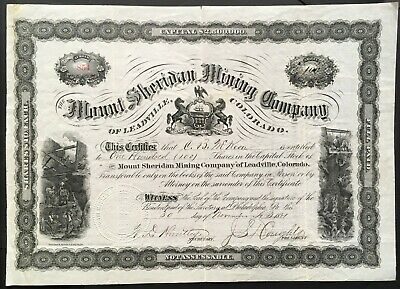 MOUNT SHERIDAN MINING COMPANY Stock 1881 Leadville, Lake County, Colorado SCARCE