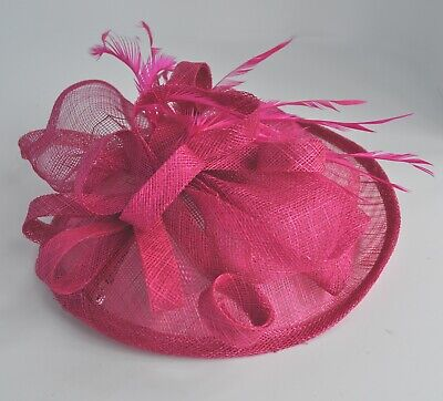 Hot Pink/cerise sinamay & feathers fascinator hair clip. Wedding/races. UK