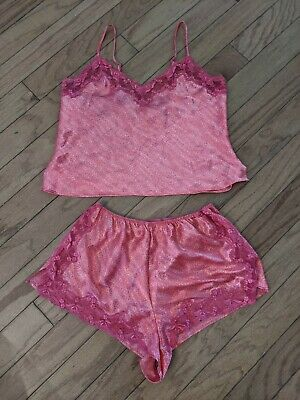 Victorias secret sleep Set Shorts Tank Top Cami Pajamas PJ Silky Lace Medium