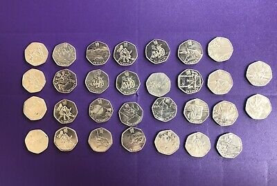 Job lot of 30 rare olympic 50p circulated coins inc judo and wrestling