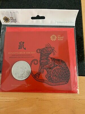 2020 Lunar Year of the Rat £5 Five Pound BU Coin In Royal Mint Sealed Pack