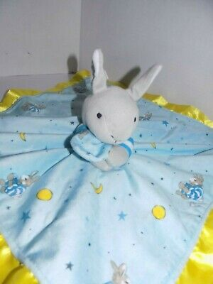 Goodnight Moon Bunny Rabbit Lovey Security Blanket Silky Soft Toy Blue Yellow