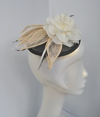 Black/cream/ivory sinamay, fabric flower & feather wedding fascinator hair comb