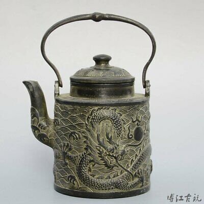 Collectable China Old Bronze Hand-Carved Myth Dragon Moral Auspicious Tea Pot
