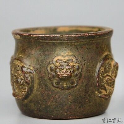 Collect China Old Bronze Hand-Carved Myth Lion Moral Auspicious Delicate Censer