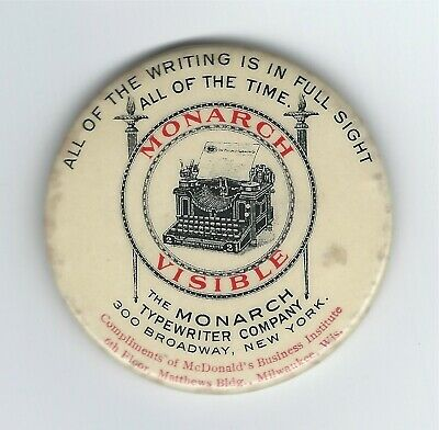 Vintage Celluloid Pocket Mirror Monarch Visible Typewriter McDonald's Milwaukee