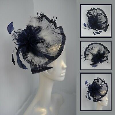 Large navy blue (& Ivory) sinamay feather wedding/races fascinator/headband