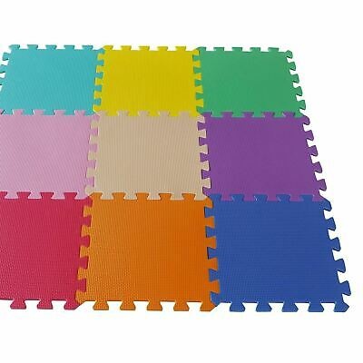 Interlocking Kids Soft  Foam Floor Play Activity Mat Tiles - 9 Pack