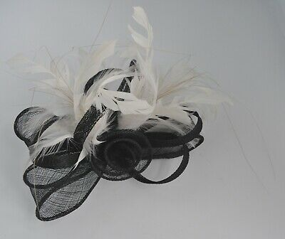 Black & ivory sinamay & feather rosebud bow wedding/races fascinator hair clip