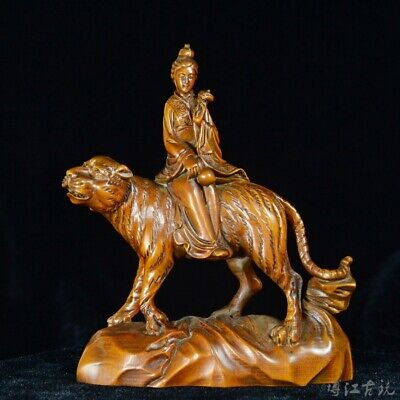 Collectable China Old Boxwood Hand-Carved Fairy Ride Tiger Delicate Decor Statue