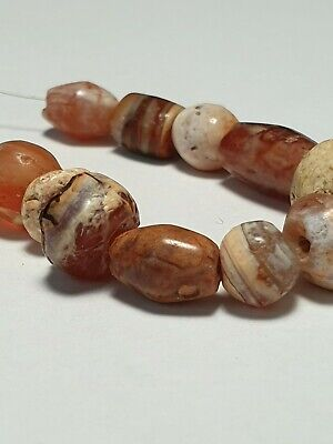 14 Ancient Rare Patinized Carnelian Beads.