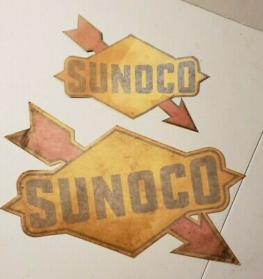 "2 Vintage Sunoco Gas Oil Decals 12"" & 8"" Advertising Gas Pump Sign Decal"