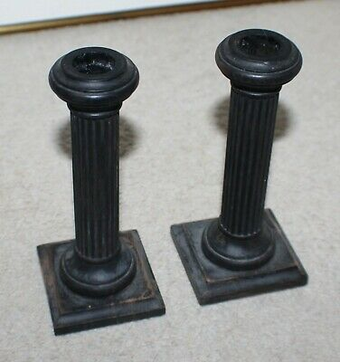Old Stained Wooden Column Design Candlesticks - Shabby Chic/Vintage/Country