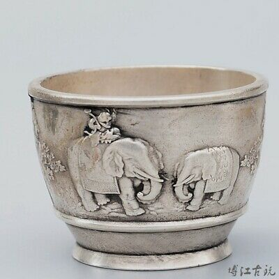 Collectable China Old Miao Silver Hand-Carved Elephant Auspicious Delicate Bowl