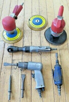 Lot of (5) Pneumatic Air Tools - Ratchet, Hammer, Die Grinder, Sanders