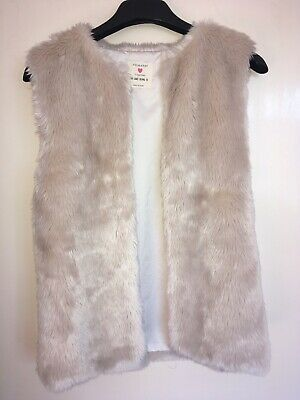 Girls Cream Fake Fur Gilet Age 11-12 Excellent Condition