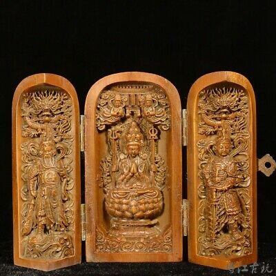 Collectable China Old Boxwood Hand Carve Kwan-Yin & Guan Yu Delicate Luck Statue
