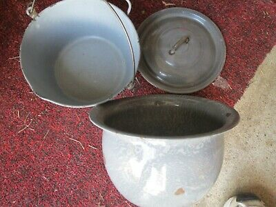 Vintage Grey AGATE CHAMBER POT and POT with Lid