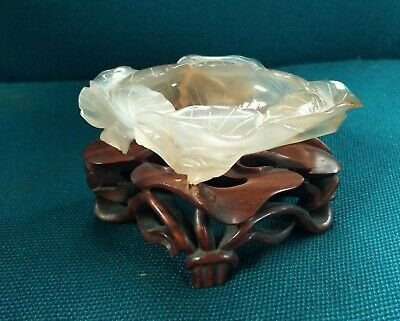 Chinese Hand Carved Jade Jadeite Brush Washer Lotus Leaf with Wooden Stand
