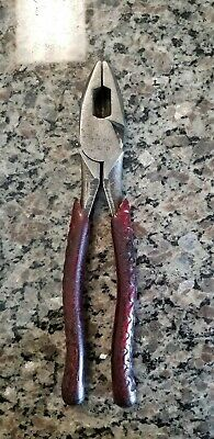 "Vintage Klein Tools Lineman's Pliers 213-9NE 9"" *RED*   ""Great Used Condition"""