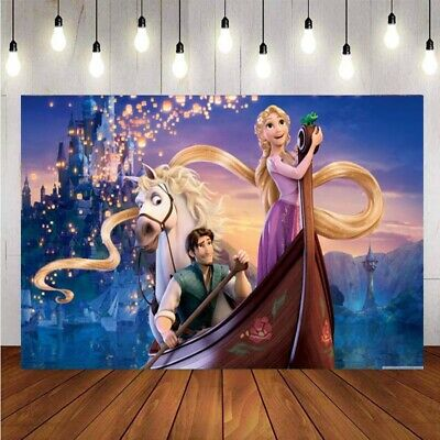 Tangled Rapunzel Princess Photography Backdrop Girls Birthday Party Backgrounds