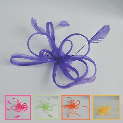 Looped mesh feather fascinator hair comb. 4 bright/neon colours. Wedding/races