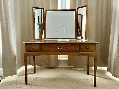 Elegant Solid Wood Dressing Table, 136x119x49cm, In Need Of Some Restoration