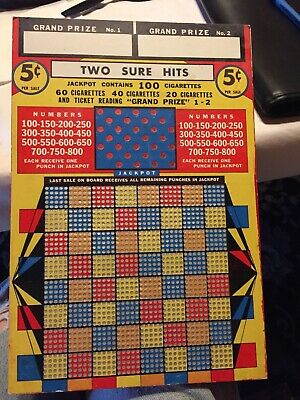 vintage two sure hits punch board 5 cents per sale