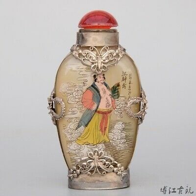 China Old Miao Silver Armour Glass Inside Painting Delicate Figure Snuff Bottle
