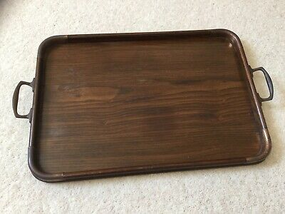 Antique Vintage Serving Tray Wooden With Metal Handles