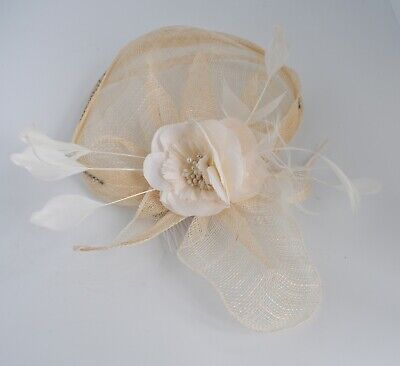 Cream & Ivory sinamay,diamante, fabric feather wedding fascinator hair comb/clip