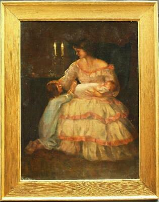 c1900 PORTRAIT YOUNG MOTHER WITH CHILDREN BY CANDLELIGHT Antique Oil Painting