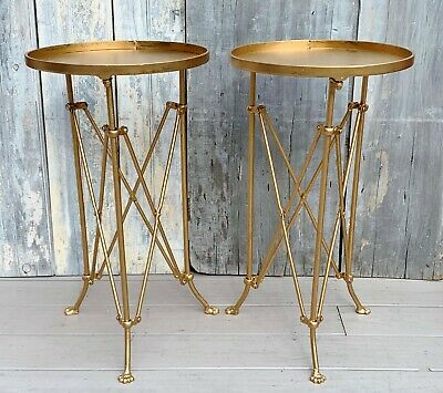 Vintage Pair French Directoire Style Gilt Iron Gueridons Side Tables w/ Paw Feet
