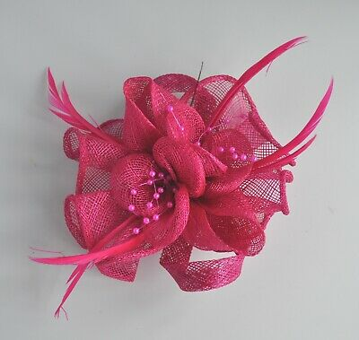 Hot Pink/cerise sinamay, pearls & feather wedding fascinator hair clip/corsage