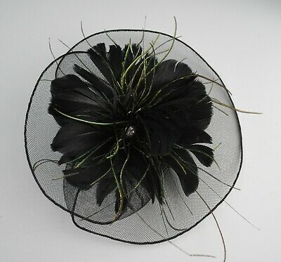Black feather flower and net fascinator hair clip. Green Peacock strands/Crystal