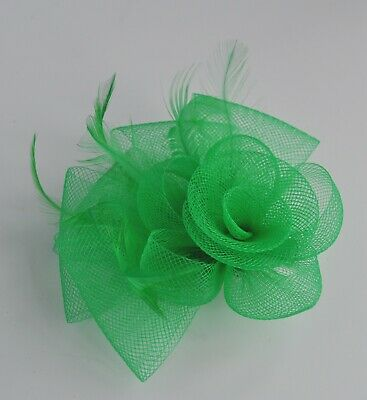 Small green mesh/net feather rose & loops fascinator hair clip. Wedding/races UK