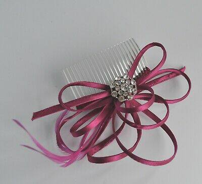Satin loops & feather fascinator hair comb with crystal embellishment. Wedding