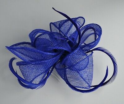 Royal Blue sinamay loops & biot feather fascinator hair comb. Wedding/races UK