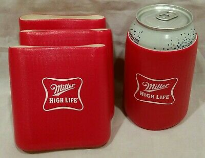 4 Miller High Life Tuff Runber Beer Can Cozy Cooler Coozie Coolie Huggie    -A1