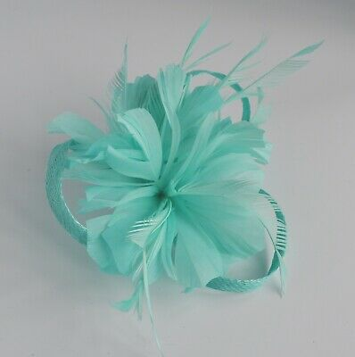 Feather lily & sinamay loops fascinator/hair clip/corsage Mint/Aqua/Tiffany blue