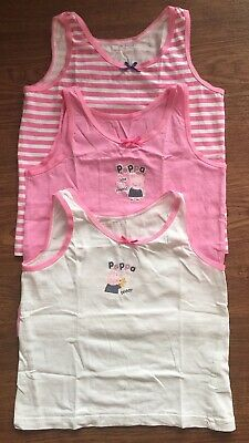 Next Girls Peppa Pig Pink Vests 3 Pack Size 3-4 Years