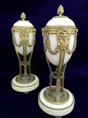 Pair Of Antique Candlesticks Garniture Pair Of Urns Marble And Ormolu French