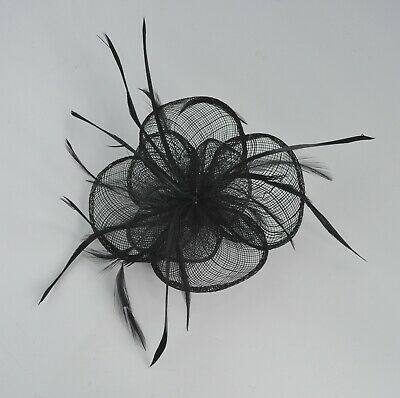 Sinamay and feather flower fascinator hair clip/corsage. Wedding/races. UK