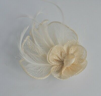 Small sinamay ruffles & feathers wedding fascinator hair clip/corsage. Races. UK