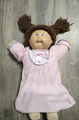 VTG 1985 Coleco Cabbage Patch Kids Girl Doll Brown Hair Blue Eyes,Tooth, Dress